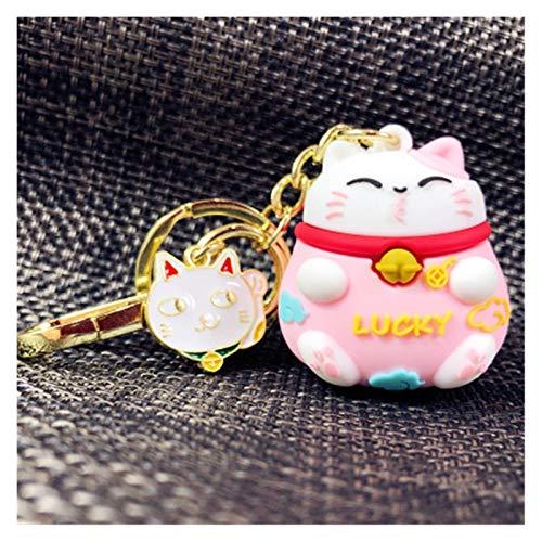 Llavero Llavero de la moda con el gato de la aleación oro de las mujeres hebilla de la baratija de metal totalmente personalizables bolso del coche pendiente del encanto de los anillos dominantes Crea