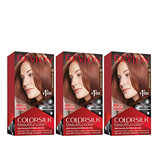 Revlon Colorsilk Beautiful Color Permanent Hair Color with 3D Gel Technology & Keratin, 100% Gray Coverage Hair Dye, 55 Light Reddish Brown, 4.4 oz (Pack of 3)