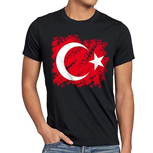 CottonCloud Türkei Herren T-Shirt Turkey Türkiye Flagge Mondstern, Farbe:Schwarz, Größe:5XL