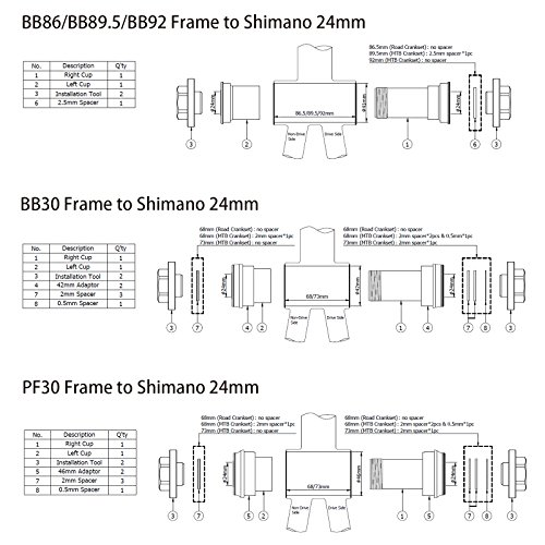 TOKEN Thread-Press Fit Ceramic Bottom Bracket BB86//BB92//BB30//PF30 to Shimano