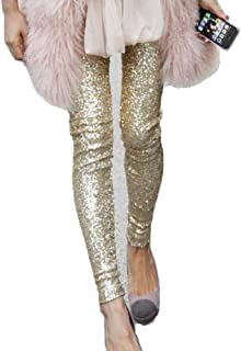 1e874e3bf99 Withchic Gold Sequin Sparkle Leggings Shiny Bling Tights Glitter Pants
