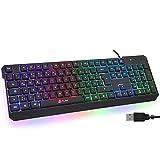 KLIM Chroma Gaming Tastatur QWERTZ DEUTSCH mit Kabel USB + Langlebig, Ergonomisch, Wasserdicht, Leise Tasten + RGB Gamer Tastatur für PC Mac Xbox One X PS4 Tastatur + Neue 2021 Version + Schwarz