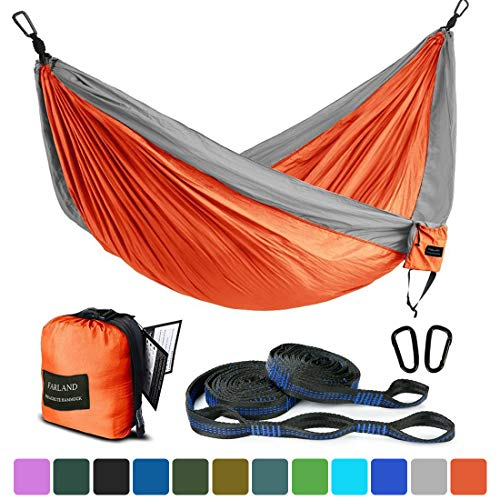 Mystery Camping Hammock Lightweight Parachute Nylon Fabric Travel Hammocks Hanging Bed 300kg Load Capacity 260 x 140cm with 2 Nylon Straps and Steel Carabiner for Camping Traveling Garden Park