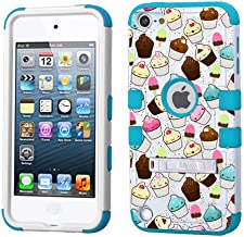 PHONETATOOS iPod touch 5th 6th Generation White Plastic/Blue Silicone 3-Piece Style Hybrid Hard Case Cover for Apple- For Girls And Boys-Shockproof Dustproof with Stand (Cupcakes)