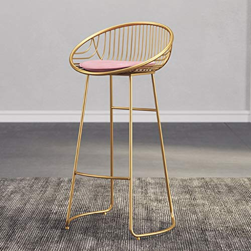 Staafstoel gouden moderne minimalistische smeedijzer hoge kruk bar eettafel stoel huis rugleuning stoel kruk 43 × 45 × 75 cm