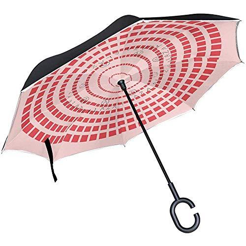Mike-Shop Umgedrehter Regenschirm mit kreisförmigem Aufbau. Winddichter UV-Schutz mit doppelter Lage. Umgedrehter Regenschirm