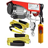 (Bundle Items) Partsam 440 lbs Lift Electric Hoist Crane Remote Control Overhead Crane Garage Ceiling Pulley Winch Bundled with Towing Strap 5.5Feet x 2inch (w/Emergency Stop Switch)