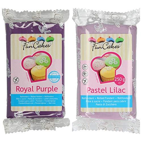 Funcakes - 2 X Paquetes de Fondant / Pasta de azucar de 250g (Purpura y Lila)