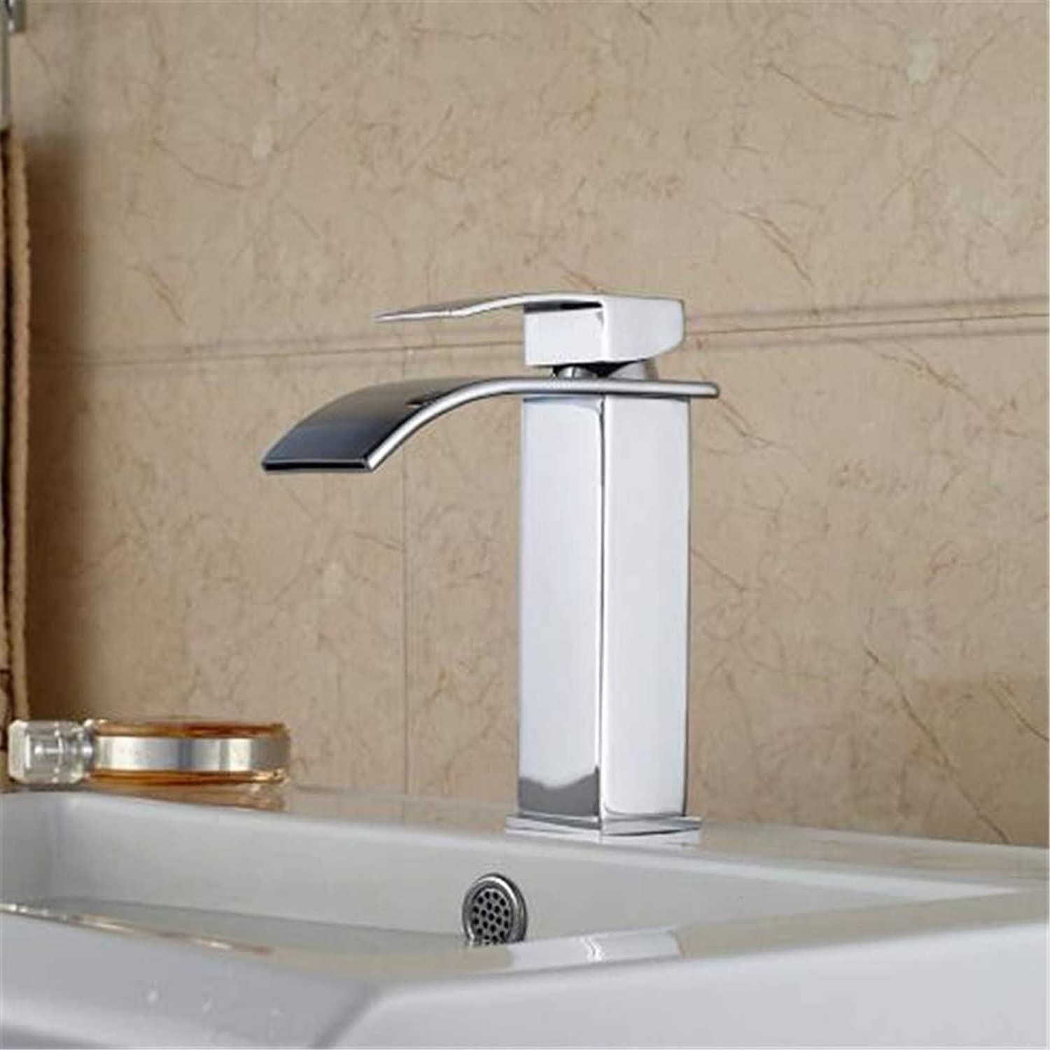 Oudan Taps Kitchen Faucet Bathroom Taps Faucet Waterfall Tappolished Chrome Brass Waterfall Bathroom Basin Faucet Square Vanity Sink Mixer Tap (color   -, Size   -)