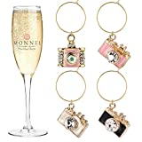 P410 Crystal Pink White Camera Wine Charms...