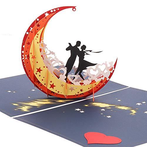 faddy-1 3D Pop Up Card, Happy Anniversary Card, Handmade Fairy Moon Pop Up Greeting Card, Valentine's Day Card for Her, Wedding Greeting Cards, Happy Birthday Card
