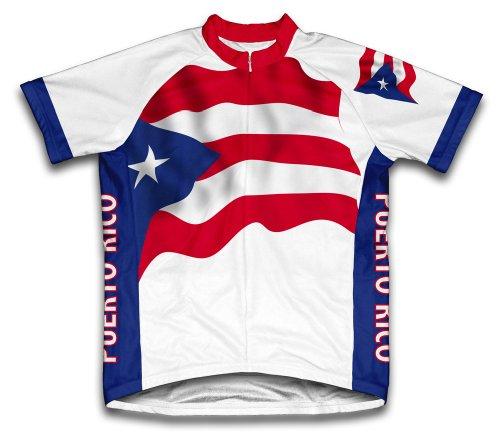 ScudoPro Puerto Rico Flag Maillot Cycliste à Manches Courtes pour Hommes -