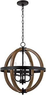 Catalina Lighting 22163-000 Country Rustic Geometric 4 Open Cage Metal Orb Chandelier Pendant Ceiling Light with Faux Wood Trim, 20.75