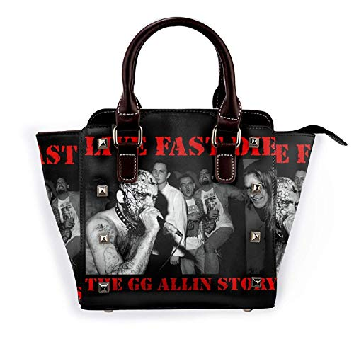 GG?Allin Poster Womens Pu Leather Rivet Tote Shoulder Bag Crossbody Bags Handbags Purse with Adjustable Strap