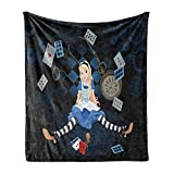 Ambesonne Alice in Wonderland Soft Flannel Fleece Throw Blanket, Grown Giant Girl Sitting Flying Cards and Rose Checkered Cartoon, Cozy Plush for Indoor and Outdoor Use, 50' x 60', Multicolor