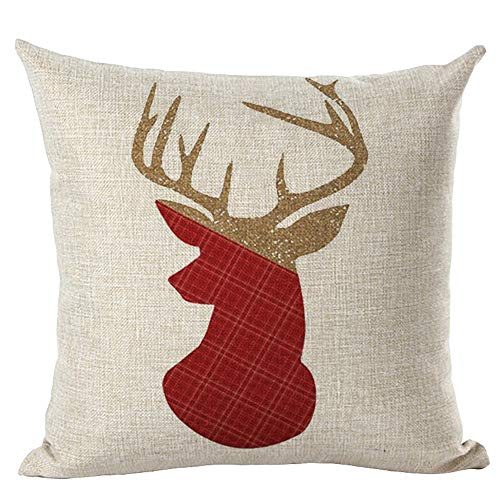 Succper Christmas Pillowcase Merry Christmas Elk and Santa Claus Pattern Throw Pillow Covers Cushion Case with Zipper 18x18 Inch Holiday Cushion Cover