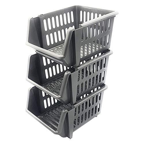 Whitefurze Stacking Basket Set di 3, Argento, 18cm