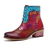 Empalme hecho a mano zapatos de mujer botas retro hebilla de correa del bloque...