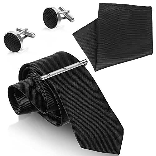 5 Pezzi Cravatta Skinny Tinta Unita Cravatta Formale Nera Tinta Unita Fazzoletto da Taschino da Uomo Gemelli Gemelli Classici e Fermacravatta per Uomini Costume