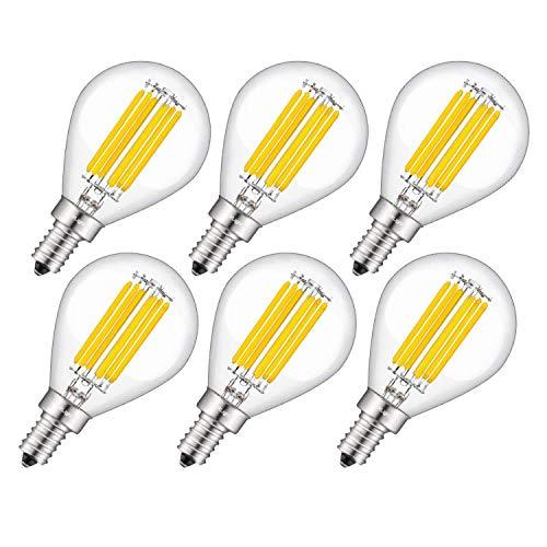 CRLight 6W Edison LED Globe Bulb 3200K Soft White 70W Equivalent 700LM Dimmable, E12 Candelabra Base Vintage Tiny G14(G45) Clear Glass Globe Shape, 360 Degree Beam Angle, 6 Pack