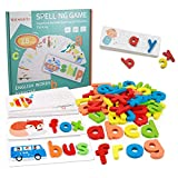See and Spell Learning Toy Spelling Puzzle Sight Words Matching Game Montessori Preschool Educational Toys for Kids Boys Girls Age 3+ Years Old( 28 Flashcards and 52 Wooden Alphabet Blocks