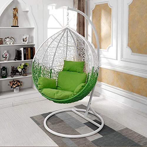 Yuany Sedia da Altalena in Rattan da Giardino in Vimini Sedia da Appendere in Vimini con Cuscino per Amaca per Interno o Esterno (Colore: Verde)(NESSUN Sedia)