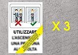 Generico Cartello CV-19 Utilizzo Ascensore - 20x30 cm - 3 Pezzi - Adesivo per Interni - ETCOV04