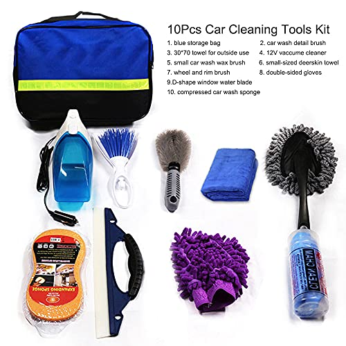 Moniel Juego de herramientas de limpieza de autos de 10 piezaskit de herramientas de lavado de autos para detallar interiores Paño de limpieza de fibra de primera calidad - Esponja de lavado