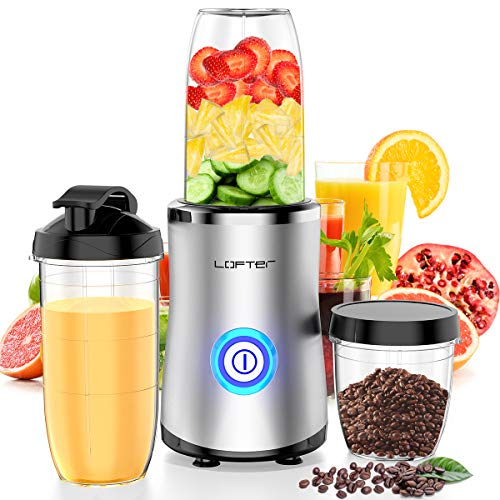 LOFTer Smoothie Maker 380W Edelstahl Mixer Smoothie Maker 24.000 U/min Multifunktion Mini Standmixer mit 500ml & 700ml Flaschen und 300ml Schleifbecher, BPA Frei