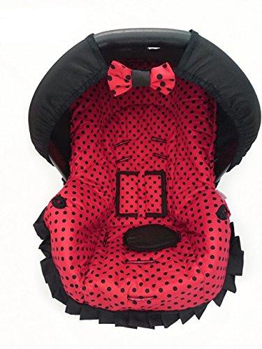 Capa para Bebe Conforto, Multimarcas sem Bordado, Alan Pierre Baby, Vermelho e Preto