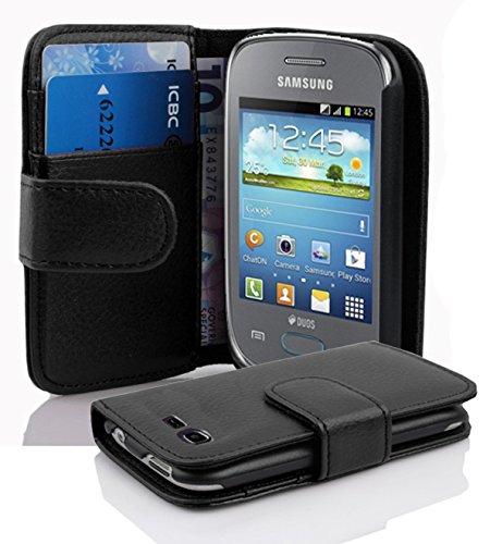 Cadorabo Custodia Libro per Samsung Galaxy Pocket Neo in Nero Profondo - con Vani di Carte e Funzione Stand di Similpelle Strutturata - Portafoglio Cover Case Wallet Book Etui Protezione