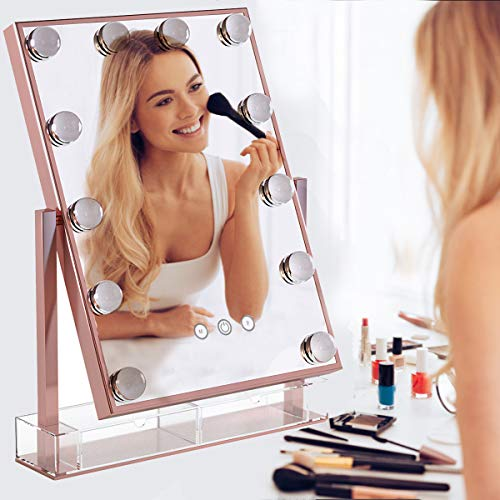 Hollywood Makeup Vanity Mirror with Lights,Plug in Light-up Professional Mirror,Removable 10x Magnification,3 Color Lighting Modes, Women Cosmetic Mirror with 12 Dimmable Bulbs for Dressing Desk