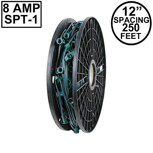 "Novelty Lights 250 Foot C9 Christmas Stringer Bulk Reel, Green Wire, 12"" Spacing, Intermediate Base (C9/E17), SPT-1 8 AMP Wire"