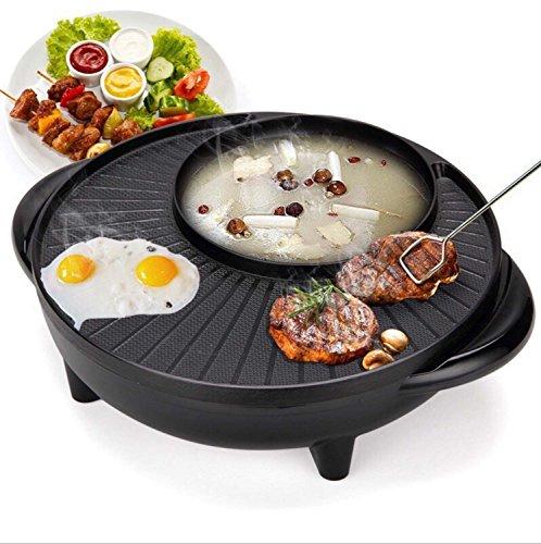 Barbecue au pot de style coréen BBQ Hot Poke Machine à barbecue à double pot, sans bâton Tout puissant Cuisinière à soupe Électrique à carreaux ronds multifonctionaux Pot multi-usage, noir