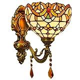 Apliques de pared Tiffany pared del estilo de Luz Amarilla Stained Glass lámpara de pared de 8 pulgadas aplique cubierta multicolor pared accesorio de la lámpara for la sala dormitorio Lámpara de pare