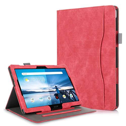 TTVie Hülle für Lenovo Tab M10 / P10 - PU Lederhülle Schutzhülle Cover Tasche mit Stylus-Halterung für Lenovo Tab M10 / P10 25,5 cm (10,1 Zoll FHD IPS Touch) Tablet-PC, Rot