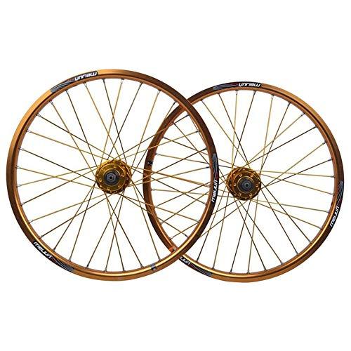 DZGN 20 Pollici BMX Ruota di Bicicletta Bordo dei bistrati cerchione di Bicicletta in Lega Disco velocità 78910 QR 32H,d'oro