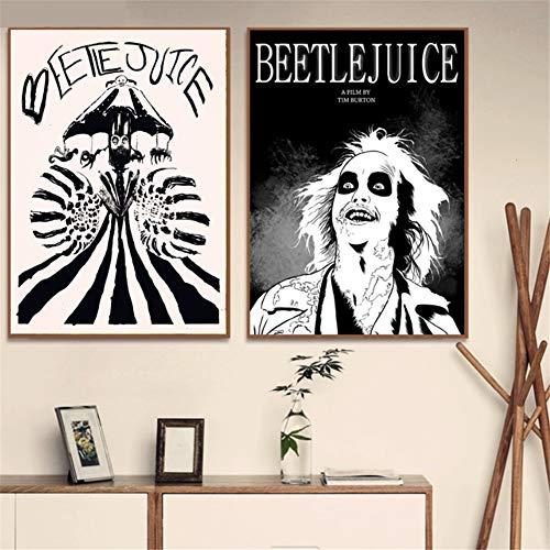 Beetlejuice dibujos animados estilo cómic carteles lienzo pintura pared arte imagen Vintage cartel decorativo decoración del hogar Affiche -50x70cmx2 piezas sin marco