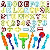 Outils de Pâte À Modeler Play doh Moules Kit pour Argile Pâte à Modeler, 49 pièces Dough Tools D'accessoires de Jouet de Pâte de Kit de Clay pour Enfants Forme Lettres et Chiffres(Couleur Aléatoire)