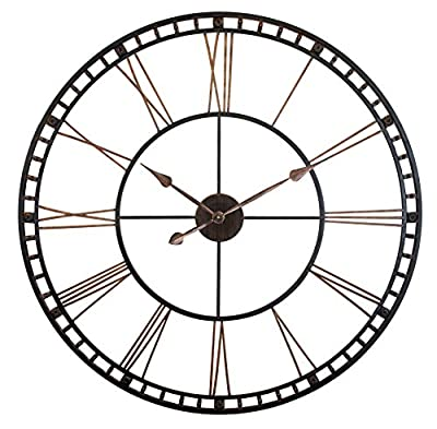 """Infinity Instruments Tower XXL Oversized Decorative Wall Clock Perfect for Any Indoor Living Space, 39"""" H x 39"""" W x 2.5"""" D, Black/Bronze"""