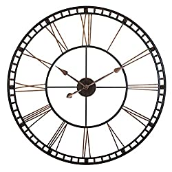 Infinity Instruments Tower XXL Oversized Decorative Wall Clock Perfect for Any Indoor Living Space, 39 H x 39 W x 2.5 D, Black/Bronze