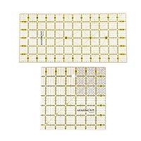 oshhni 2ピース/個プラスチック正方形の長方形のキルトテンプレートパッチワークの縫製のルーラー