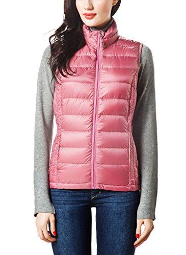 XPOSURZONE Women Packable Lightweight Down Vest Outdoor Puffer Vest Desert Rose Large