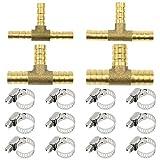 SRunDe Conector de púas para Manguera de Combustible de 3 vías 6/8/10/12mm Pieza en T Adaptador de unión de latón Accesorios con 12 Abrazaderas de Tubo de Acero Inoxidable Ajustables de 6-12mm