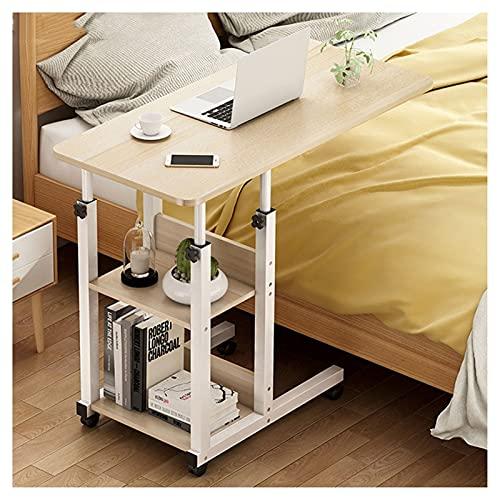 Mesa auxiliar para ordenador portátil, portátil, mesa para el hogar, oficina, portátil, portátil, sobre la cama, mesa, sofá, rueda rodante, escritorio, mesa portátil (color beige, tamaño: 80 x 40 cm)