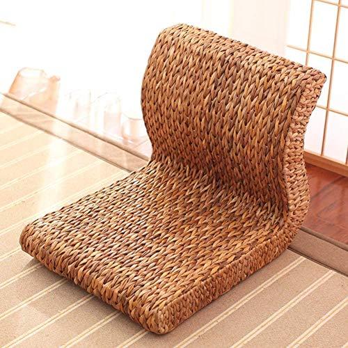 Luie stoel, Tatami vloerstoel Luie fauteuil met rugleuning Meditatiestoel Gebreide rieten stoel zonder benen Handgeweven maïsschil antislip