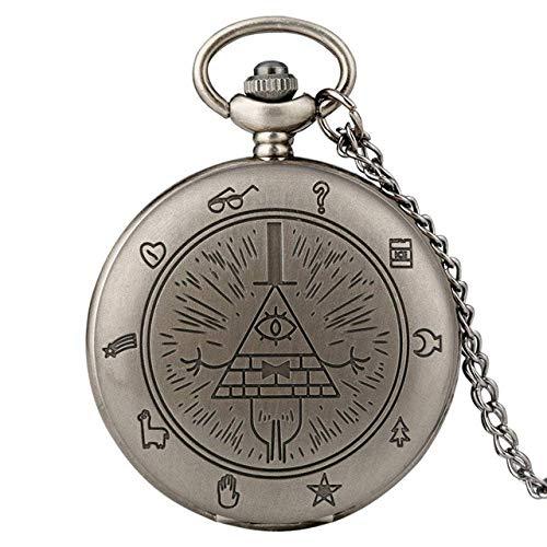 Water cup Vintage Pocket Watch Pocket Watch Retro Bronze/Black/Retro Grey Bill Cipher Gravity Falls Theme Quartz Pocket Watch Exquisite Necklace Watch Cool Pendant Gift