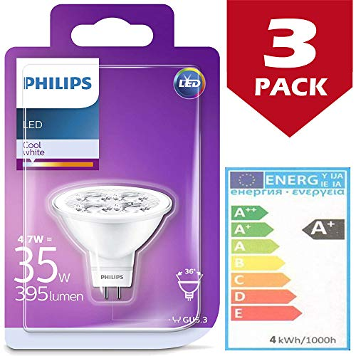 Philips LED-Leuchtmittel, 4,7 W (35 W), 395 Lumen, GU5.3 / MR16, 36 Grad Öffnung, 4000 K, Kaltweiß, 3 Stück