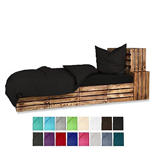 155x220 Bettwäsche Baumwolle UNI Renforce 2-4 teilig mit Reißverschluss - in 16 modernen Farben - 4 tlg. Set 2x 155x220 + 2 x80x80 cm Baumwolle Renforcé Bettwäsche Uni - Schwarz