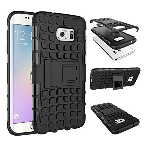 pinlu Funda para Samsung Galaxy S7 Edge Smartphone Doble Capa Híbrida Armadura Silicona TPU + PC Armor Heavy Duty Case Duradero Protección Neumáticos Patrón Negro